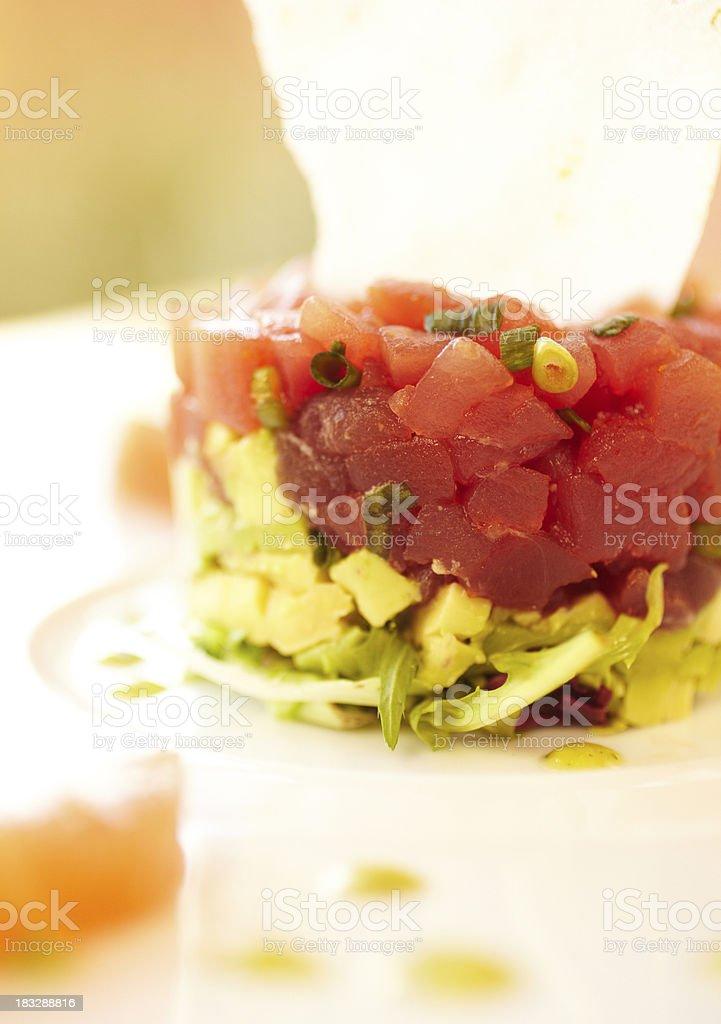 Ahi tuna and avocado salad royalty-free stock photo