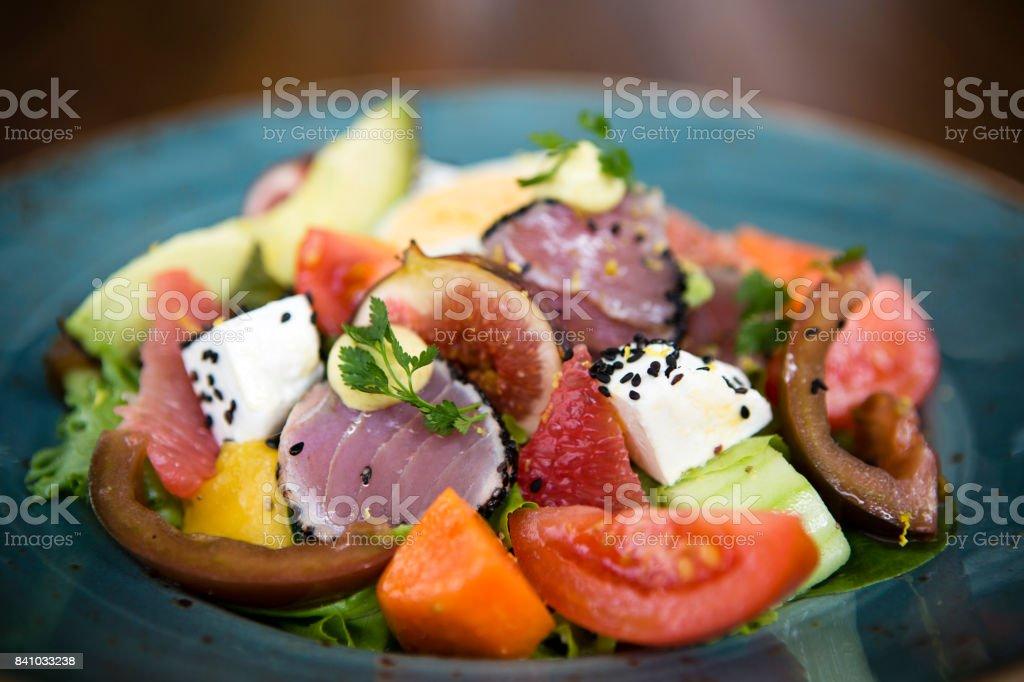 Ahi Tuna Healthy Eating Vegetable Salad stock photo