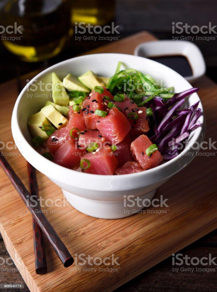 Ahi tuna poke bowl stock photo