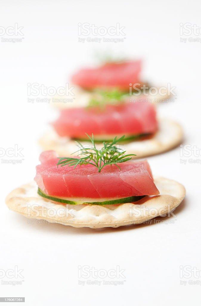 Ahi Tuna Sashimi on Cracker royalty-free stock photo