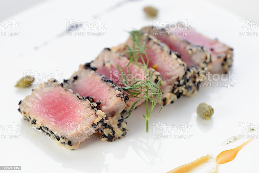 Ahi Tuna Seared stock photo