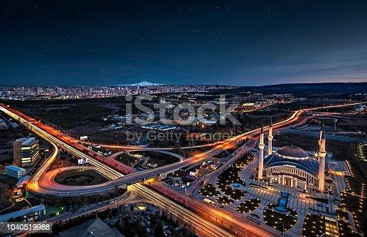 Ahmet Hamdi Akseki Mosque in Ankara Turkey, taken from rooftop of TOBB Twin Towers.