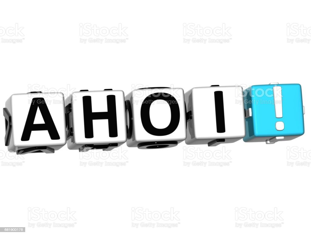3D Ahoi block text on white background stock photo