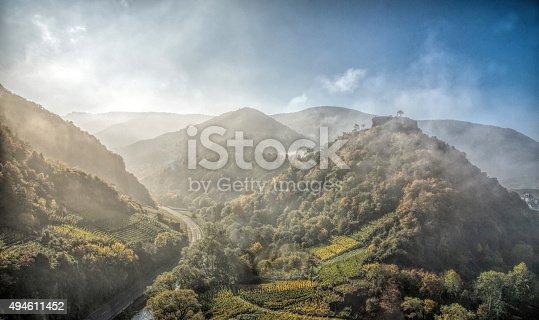 Ahr valley in the mornig fog,near by Mayschoß and Rech,Eifel,Germany.