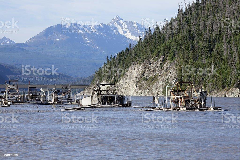 Ahtna Native's Fishwheel fish trap on Alaska's Copper River stock photo