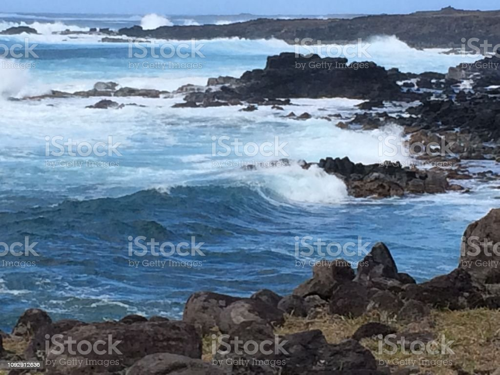 Ahu Akahanga, Easter Island stock photo