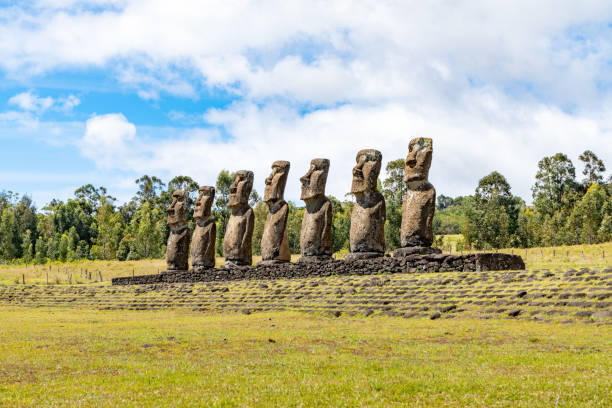 Ahu Akivi - Easter Island, Chile stock photo