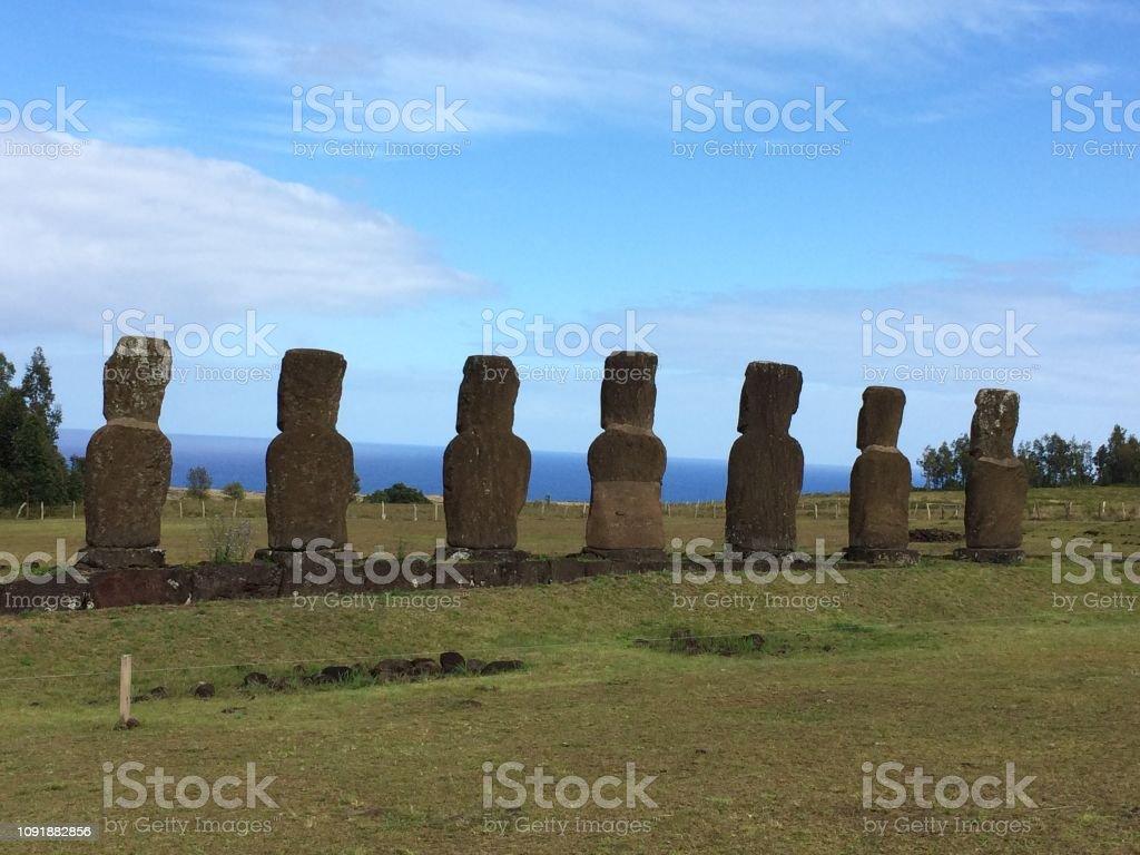 Ahu Akivi, Easter Island stock photo