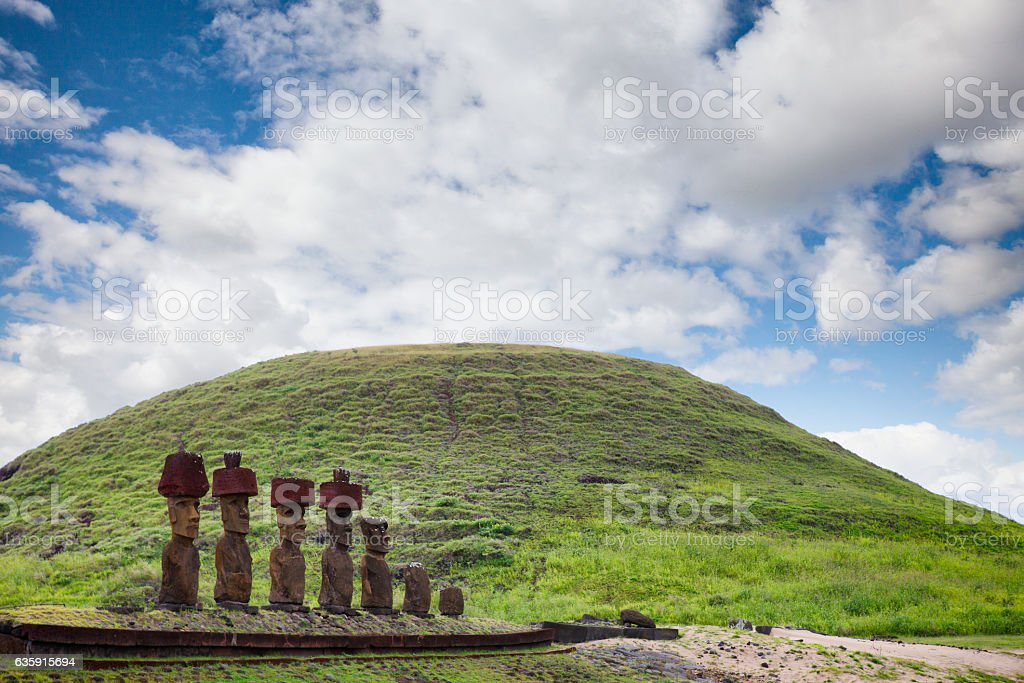 Ahu Nao-Nao at Anakena Beach on Easter Island, Chile stock photo