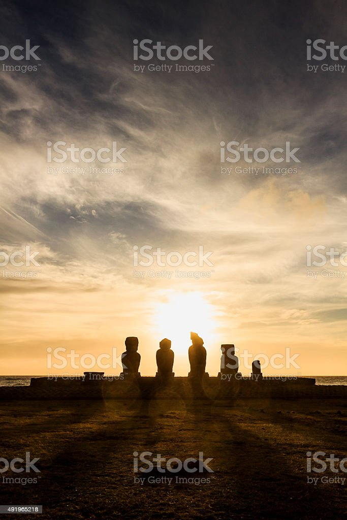 Ahu Tahai Moai Statues at Sunset, Easter Island stock photo