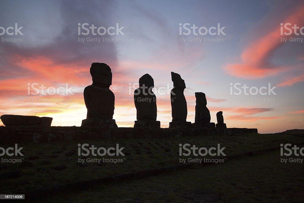 Ahu Tahai Sunset royalty-free stock photo