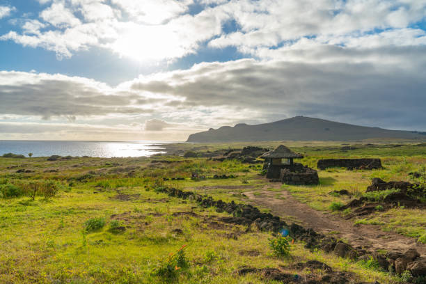 Ahu Te Pito Kura, Easter Island, Chile stock photo