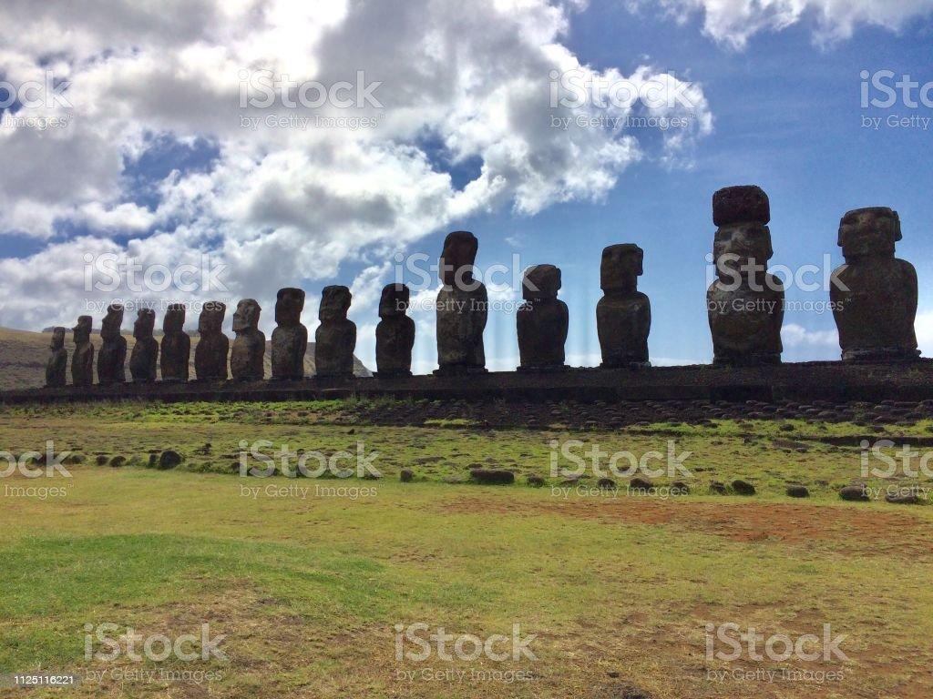 Ahu Tongariki, Easter Island stock photo