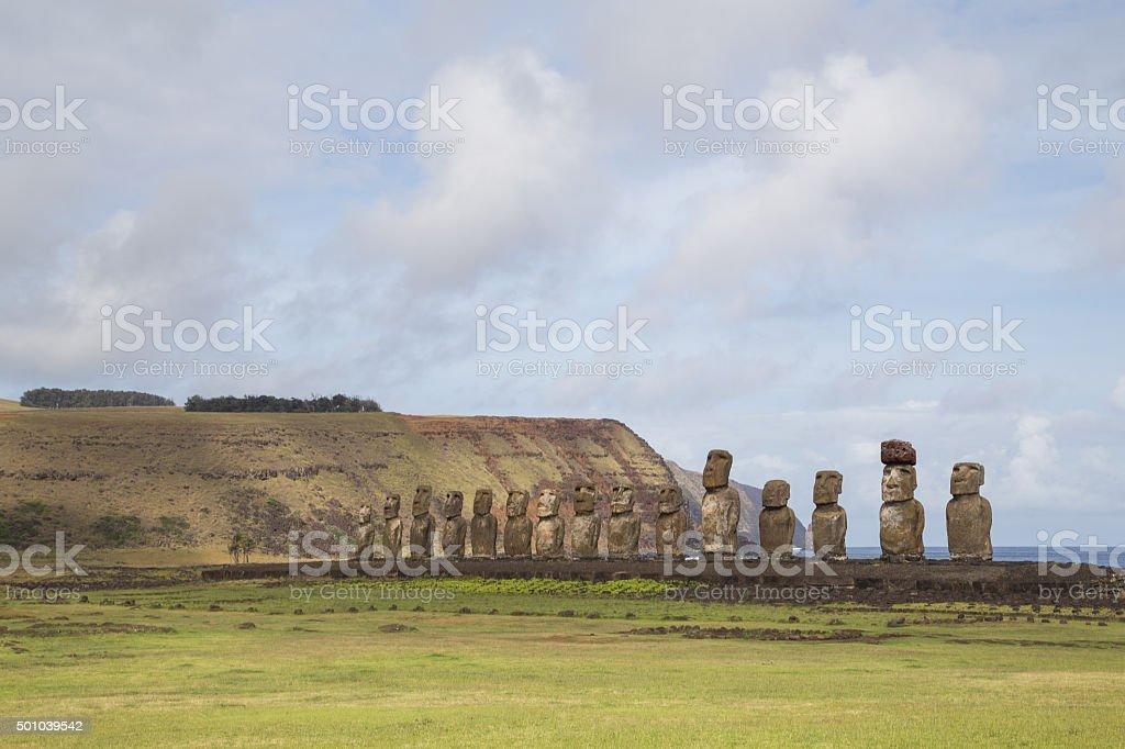 Ahu Tongariki on Easter Island stock photo