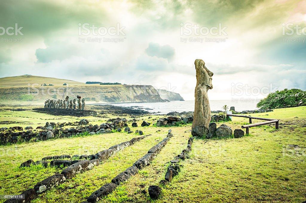 Ahu Tongariki spot at Easter Island in Chile stock photo