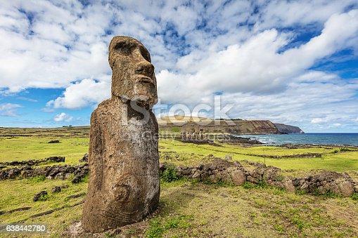 Ahu Tongariki Easter Island Moai Statues under sunny deep blue summer sky. The