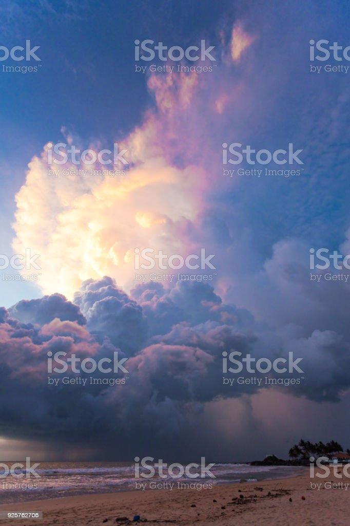 Ahungalla Beach, Sri Lanka - Gigantic mushroom cloud above the beach of Ahungalla stock photo
