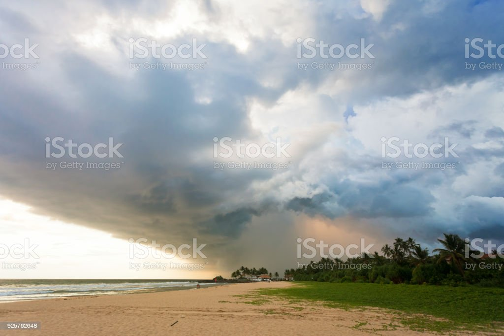 Ahungalla Beach, Sri Lanka - Impressive clouds and light during sunset at the beach of Ahungalla stock photo