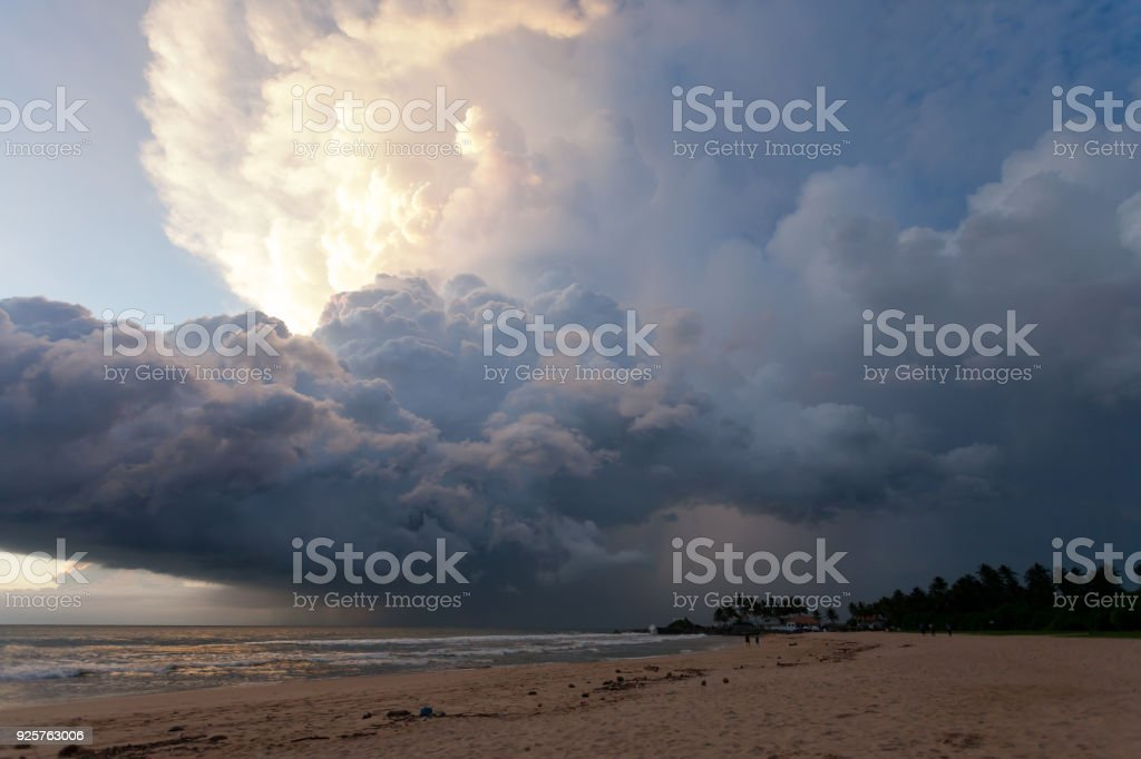 Ahungalla Beach, Sri Lanka - Overclouded landscape during sunset at the beach of Ahungalla stock photo