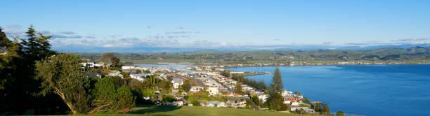 Ahuriri, Napier, viewed from Bluff Hill stock photo
