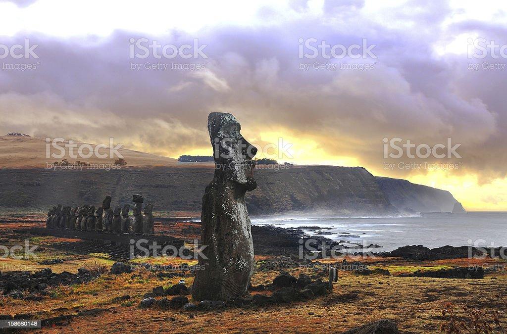 AhuTongariki (Easter Island, Chile) stock photo