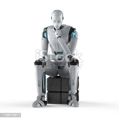 3d rendering ai robot think or compute