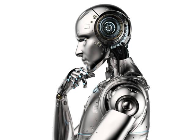pensamiento de ai robot - robot fotografías e imágenes de stock