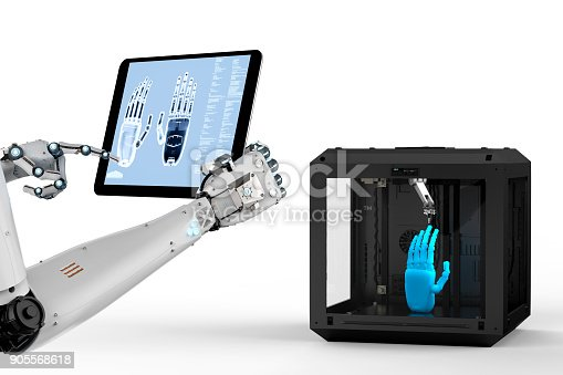 istock ai with 3d printer 905568618