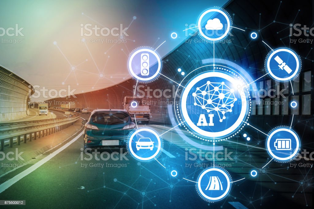 AI (artificiell intelligens och fordonsteknik. Autonoma bil. bildbanksfoto
