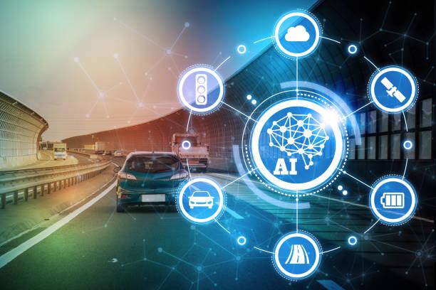 ai(artificial intelligence and automotive technology. autonomous car. - transportation icons stock photos and pictures