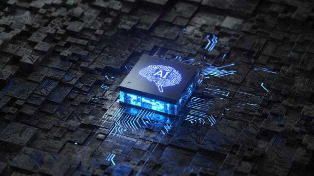 ia, concepto de inteligencia artificial, placa de circuito - inteligencia artificial fotografías e imágenes de stock