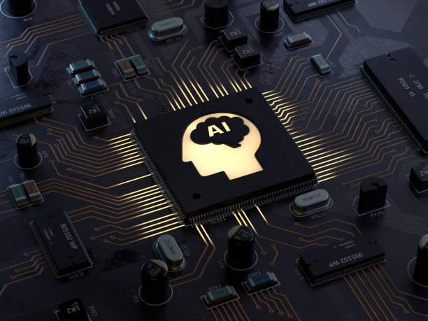 ai, placa de circuito - inteligencia artificial fotografías e imágenes de stock