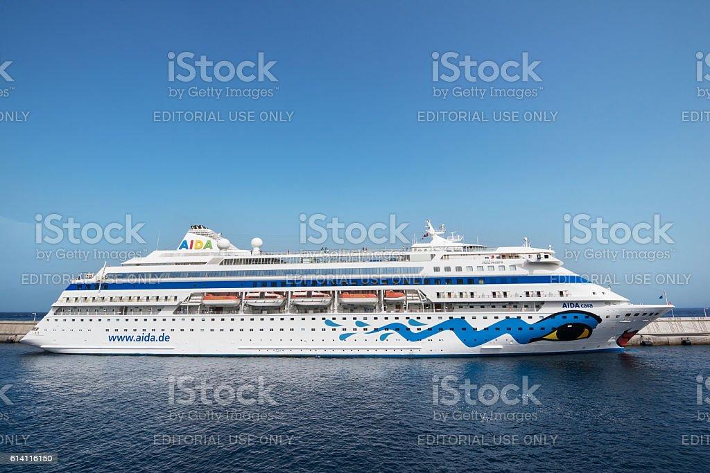 Aida Cara cruise ship docked in La Gomera. stock photo