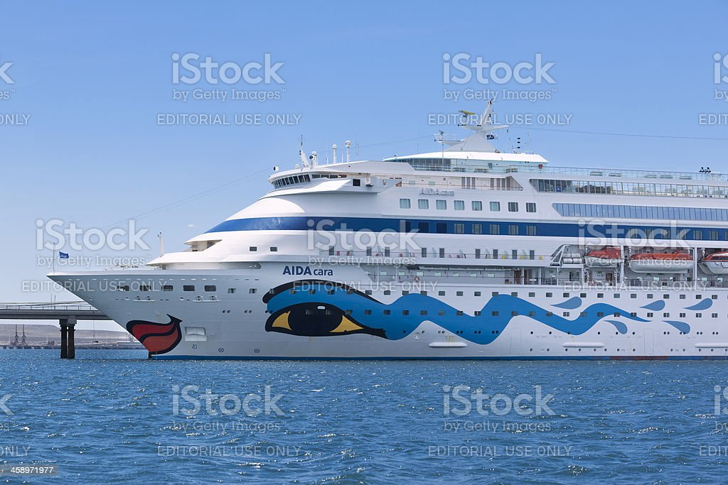 Aida cara cruise ship lying at pier in Patagonia Argentina stock photo