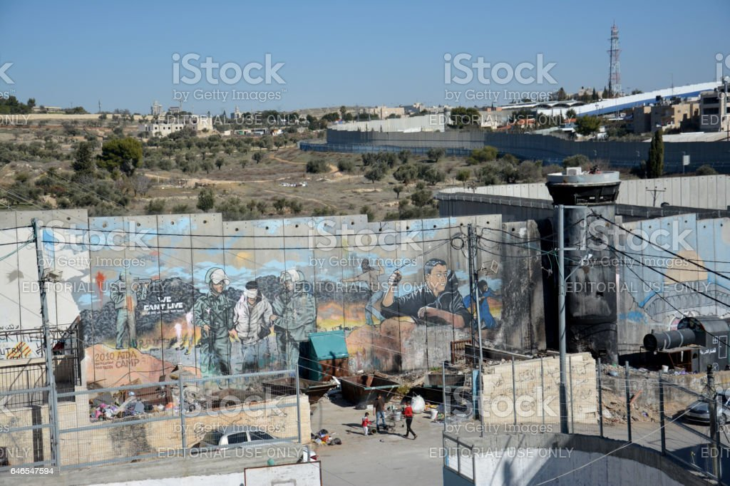 Aida Refugee Camp, Aerial view of the camp and wall stock photo
