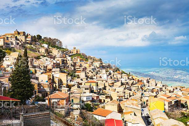 Photo of Aidone town in Sicily in spring, Italy