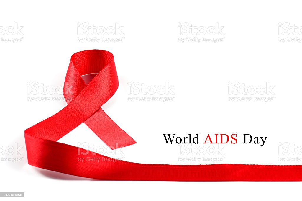 Aids Awareness Red Ribbon on white background. stock photo