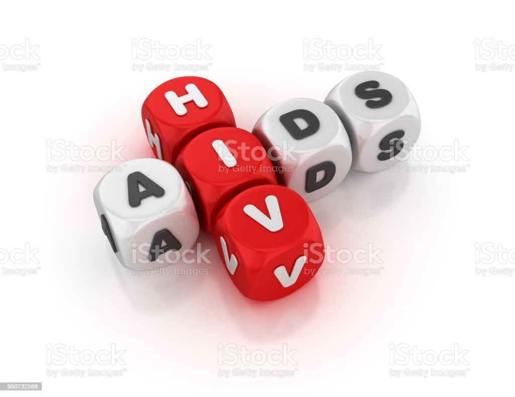 愛滋病概念縱橫字謎-3D 渲染 - 免版稅保護圖庫照片