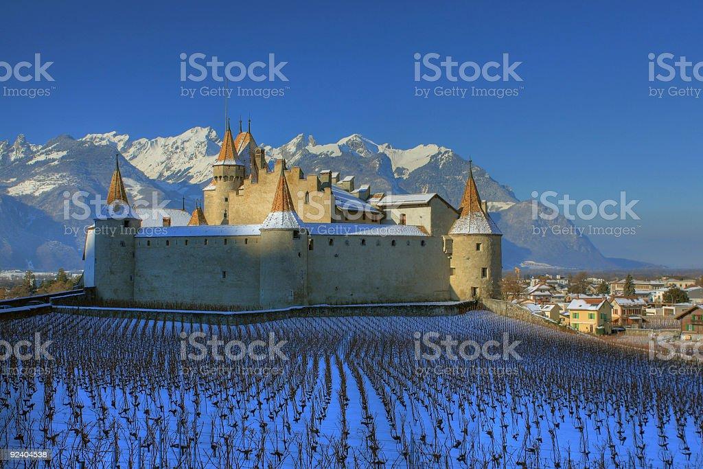 Aigle Castle in winter, Switzerland royalty-free stock photo
