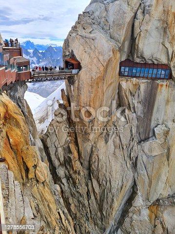 istock Aiguille du Midi footbridge. Chamonix needles, Mont Blanc, Haute-Savoie, Alps, France 1278556703