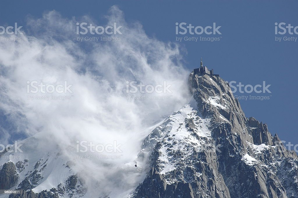 Aiguille Du Midi in cloud with cable car royalty-free stock photo