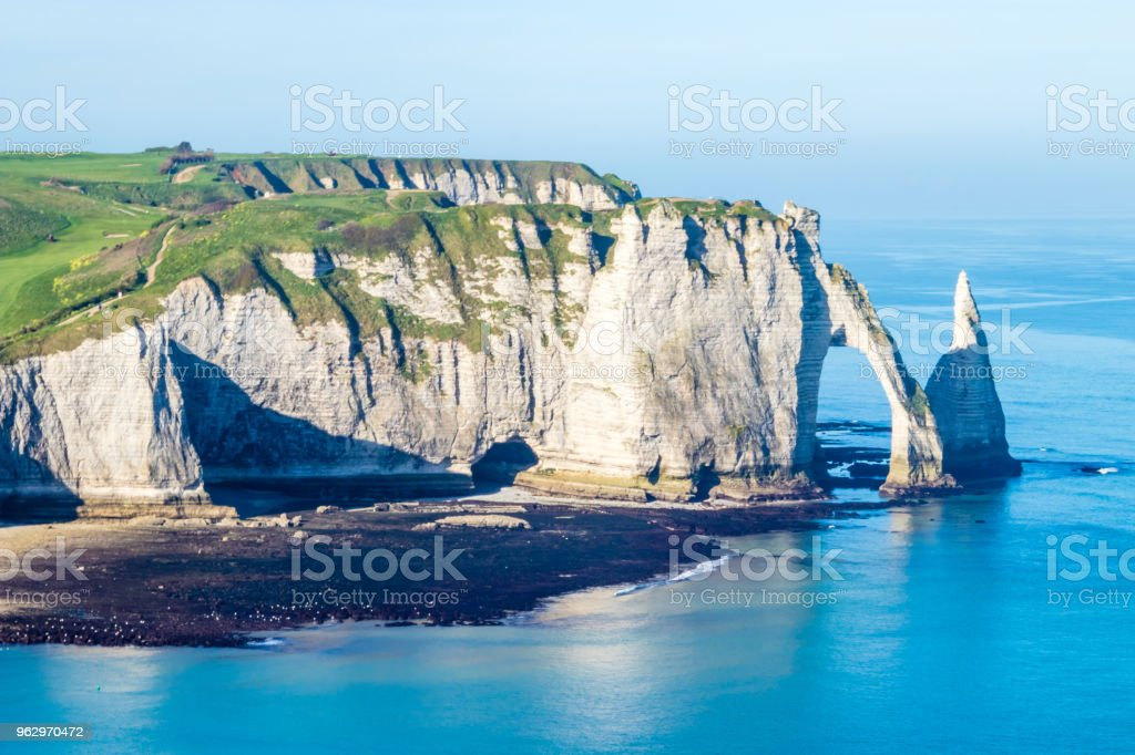 Aiguille Etretat cliff on the sea side and its beautiful limestone...