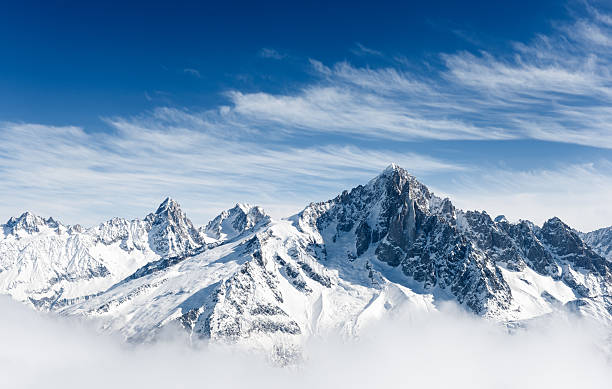 aiguille verte and the mont blanc massif - snowy mountains stock photos and pictures