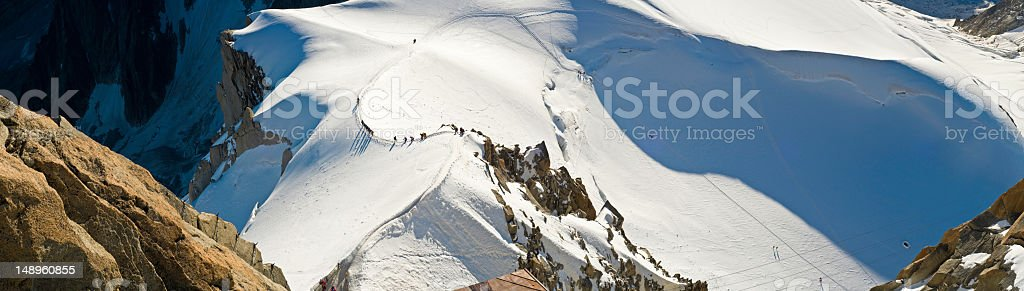 Aiguillle du Midi alpinists Chamonix royalty-free stock photo