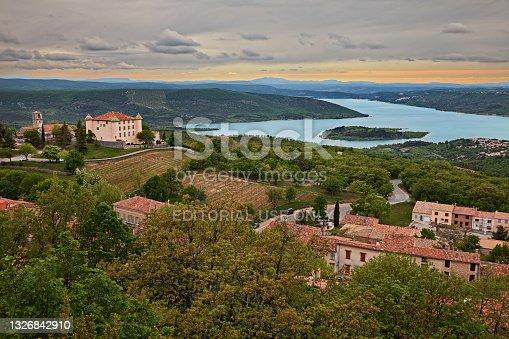 istock Aiguines, Var, Provence-Alpes-Cote d'Azur, France: the Lake of Sainte-Croix, the village and the ancient castle 1326842910