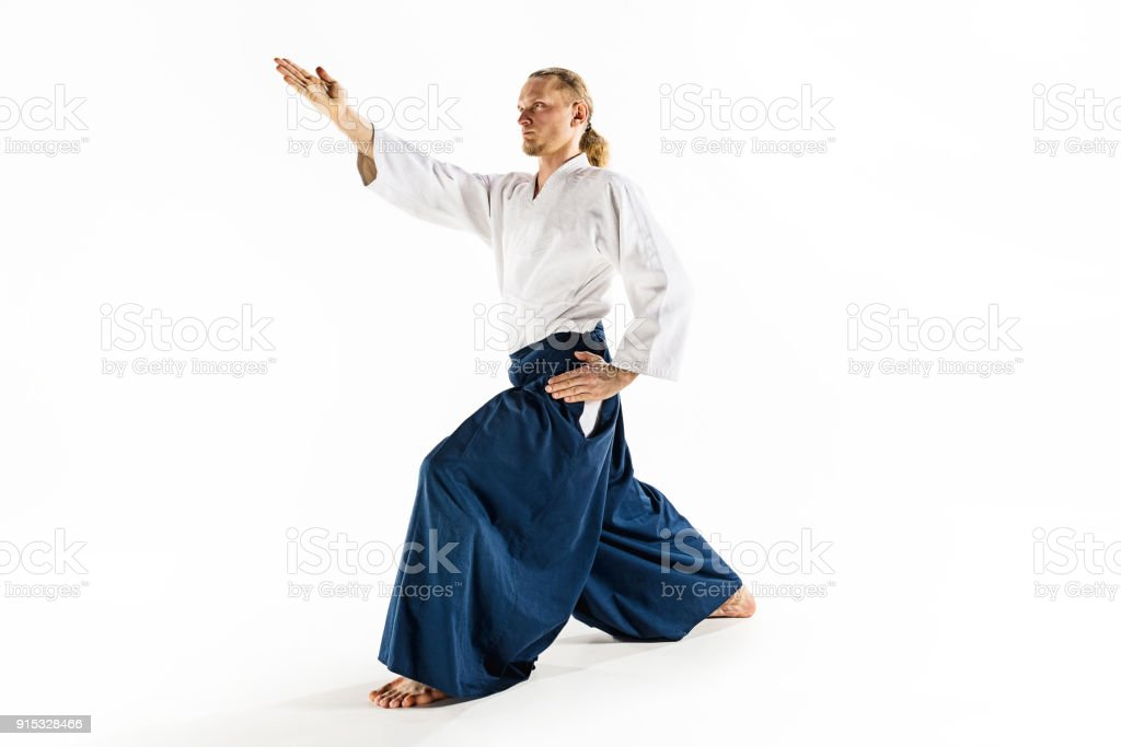Aikido Master Practices Defense Posture Healthy Lifestyle And Sports Concept Man With Beard In