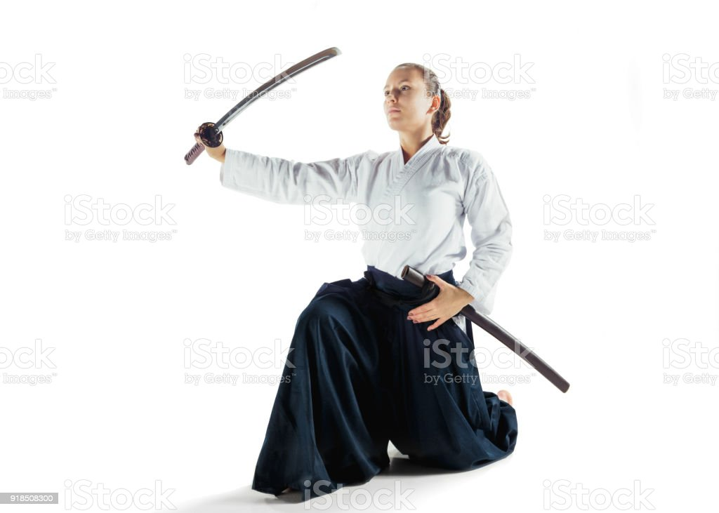 Aikido Master Practices Defense Posture Healthy Lifestyle And Sports Concept Woman In White Kimono