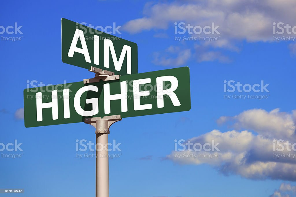 Aim Higher Street Sign royalty-free stock photo