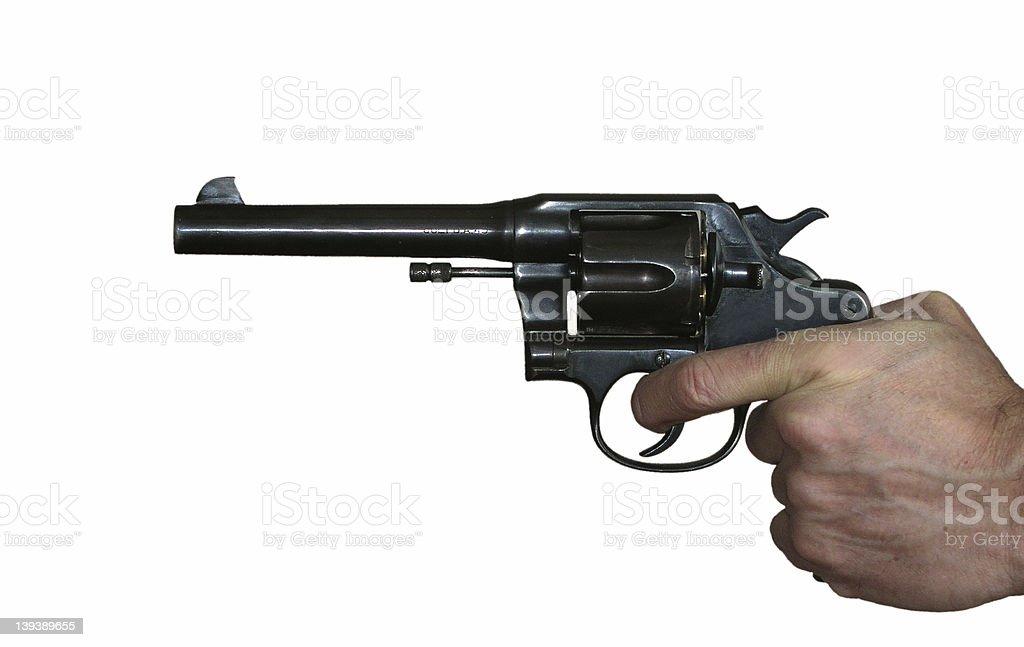Aimed revolver on white background stock photo