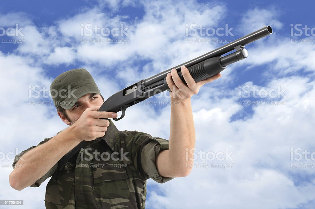 Aiming And Shooting With Rifle royalty-free stock photo